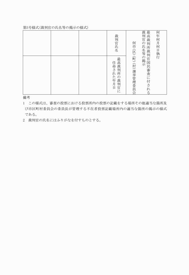 最高裁判所裁判官国民審査事務取扱規程